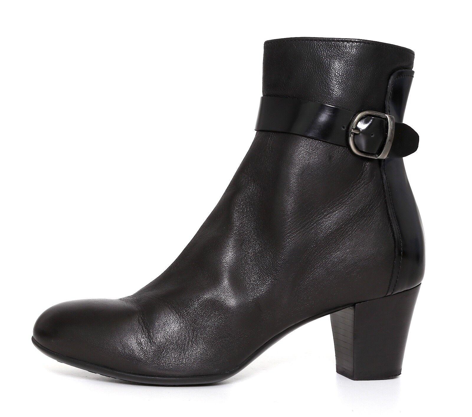 Attilio Giusti Leombruni City Leather Ankle Bootie Black Women Sz 37.5 EUR 5153