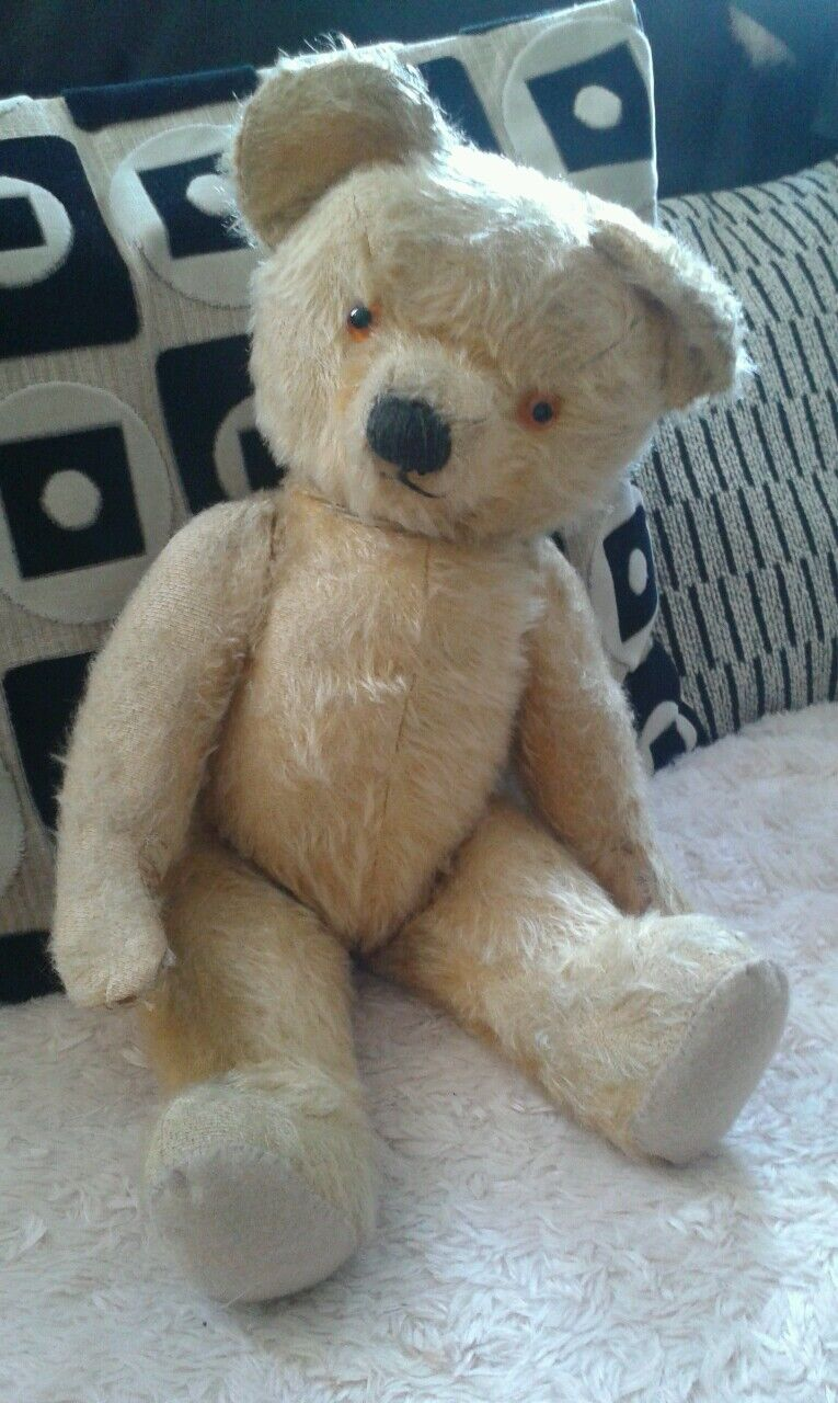Antique Chad Valley English labelled collector teddy bear 18  jointed mohair Tim
