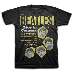 Beatles-1962-Live-in-concert-Mens-T-shirt-Black-NEW-Official-Merchandise