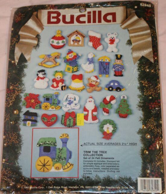 1990 Bucilla 82840 Trim the Tree Christmas Collection Ornaments Kit Jeweled Felt