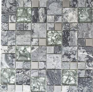 Glasmosaik Naturstein Stahl Grau Silber Wand Bad Sauna Wc 88 0204 F