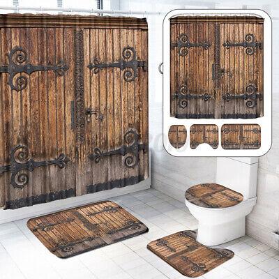 4PC Retro Wooden Door Bathroom Set Shower Curtain Lid Toilet Seat Cover Bath Mat