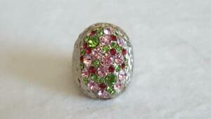 HUGE-VTG-REAL-PINK-GREEN-RHINESTONE-STATEMENT-STRETCH-FASHION-RING-ONE-SIZE