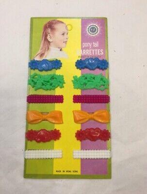 vintage rainbow colour plastic clips hair clips slides clasps kids deadstock