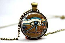 Cúpula de vidrio cabujón con colgante cadena Collar Gótico/Steampunk Egipcio Ojo Horus