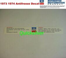 1973 1974 Chrysler Plymouth Dodge Antifreeze Radiatior Core Support Decal NEW