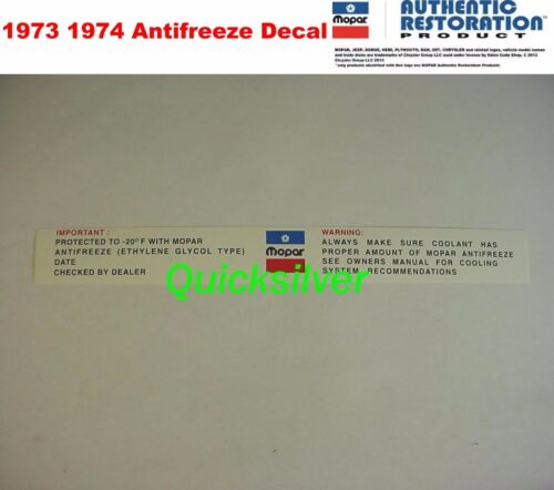 1973 1974 Chrysler Plymouth Dodge Antifreeze Radiatior Core Support Decal USA
