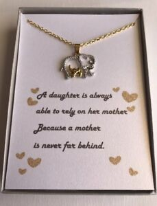 Details About Mother And Daughter Elephant Necklace W Love Poemgift