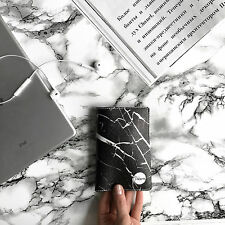 Black marble passport holder leather ID cover documents black leather holder