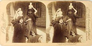 EGYPTE-Assiout-Femmes-Porteuses-d-Eau-Photo-Stereo-Vintage-Albumine-PL62L3