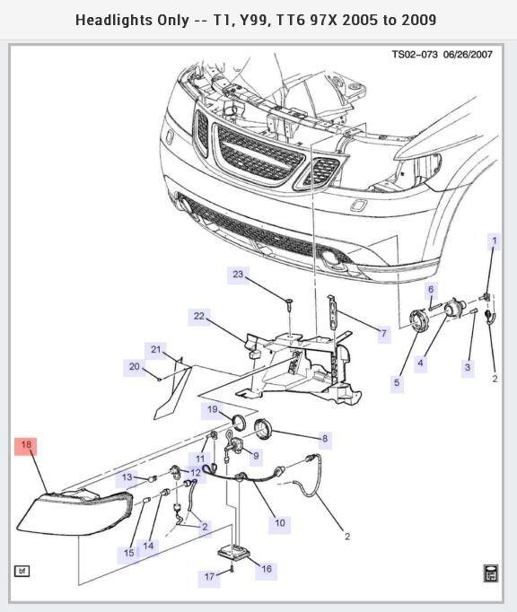 Buy Saab 97 X Rh Rt Headlamp Hid Xenon Oem Nos 19121827 Online