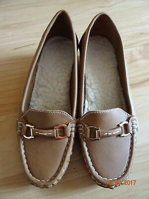 Leichte Damen Schuhe, Mokassin, Gr. 38, braun, Schnalle, Absatz 4 cm,