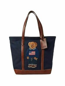 Polo-Ralph-Lauren-50th-Anniversary-Canvas-Leather-USA-Flag-Bear-Tote-Bag-New