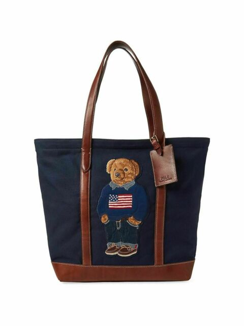 Polo Ralph Lauren 50th Anniversary Canvas Leather USA Flag Bear Tote Bag New