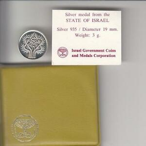 1985-ISRAEL-TREE-OF-LIFE-STATE-MEDAL-19mm-3g-SILVER-COA-CASE