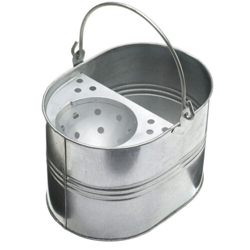14 litre Capacity Heavy Duty Metal Bucket /& Mop Galvanised Strong for Cleaning