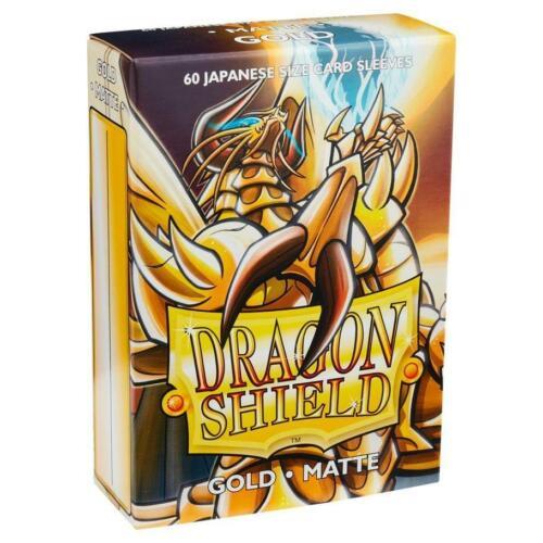 60 Matte Gold Arcane Tinmen Dragon Shield Sleeves Mini Japanese Sleeves SW