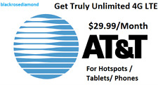 AT&T Unlimited Data 4g LTE Plan* a Month*for Hotspots / Tablets/ PHONES