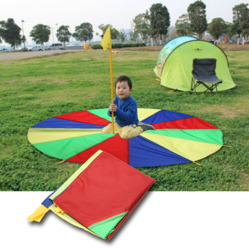 2m Children Sports Outdoor Development Training Rainbow Umbrella Parachute Toys