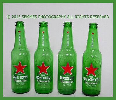 Heineken Beer Bottles Cape Town / Honolulu / Miami 12 oz Green Glass
