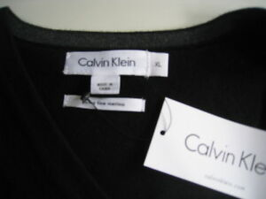 Taille 413349400699 XL Extra Fine Mérinos Pull NwtCalvin Noir Klein Laine xErCoWQBde