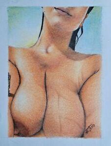 Original 8.5x11 Inch Colored Pencil Portrait Of Nude Woman Done By Artist ARTuro