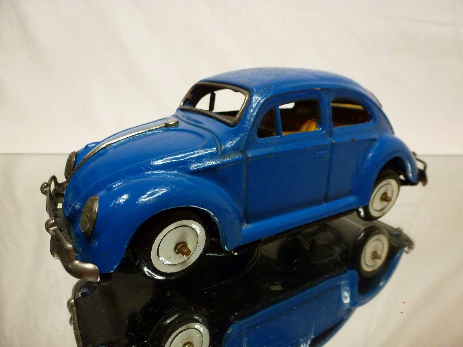 KO JAPAN TIN TOYS BLECH VW VOLKSWAGEN BEETLE - blu L16.5cm - GOOD - WINDUP RARE
