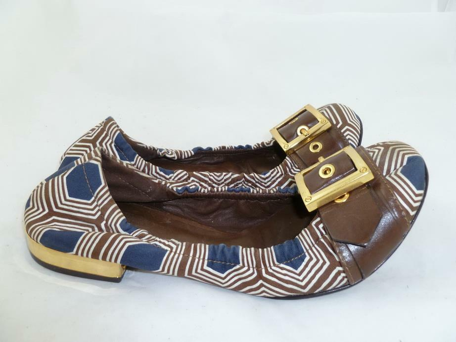 TORY BURCH USED 5 B SATIN FABRIC LEATHER gold gold gold BUCKLE BALLET FLATS BROWN NAVY 311218
