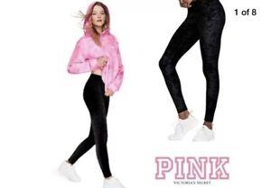 ebf89d1aedf5a1 NWT victoria's Secret ~pink~ Black Crushed Velvet Flat Yoga Leggings ...
