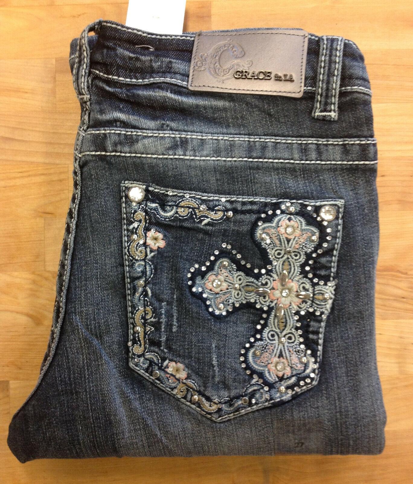 Grace in LA Women's Easy Fit Bootcut Jeans, ET-5718, Light bluee, Size 27