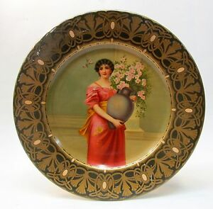 "1905 Wagner LADY HOLDING FLOWER VASE Vienna Art Plates 10"" tin tray"