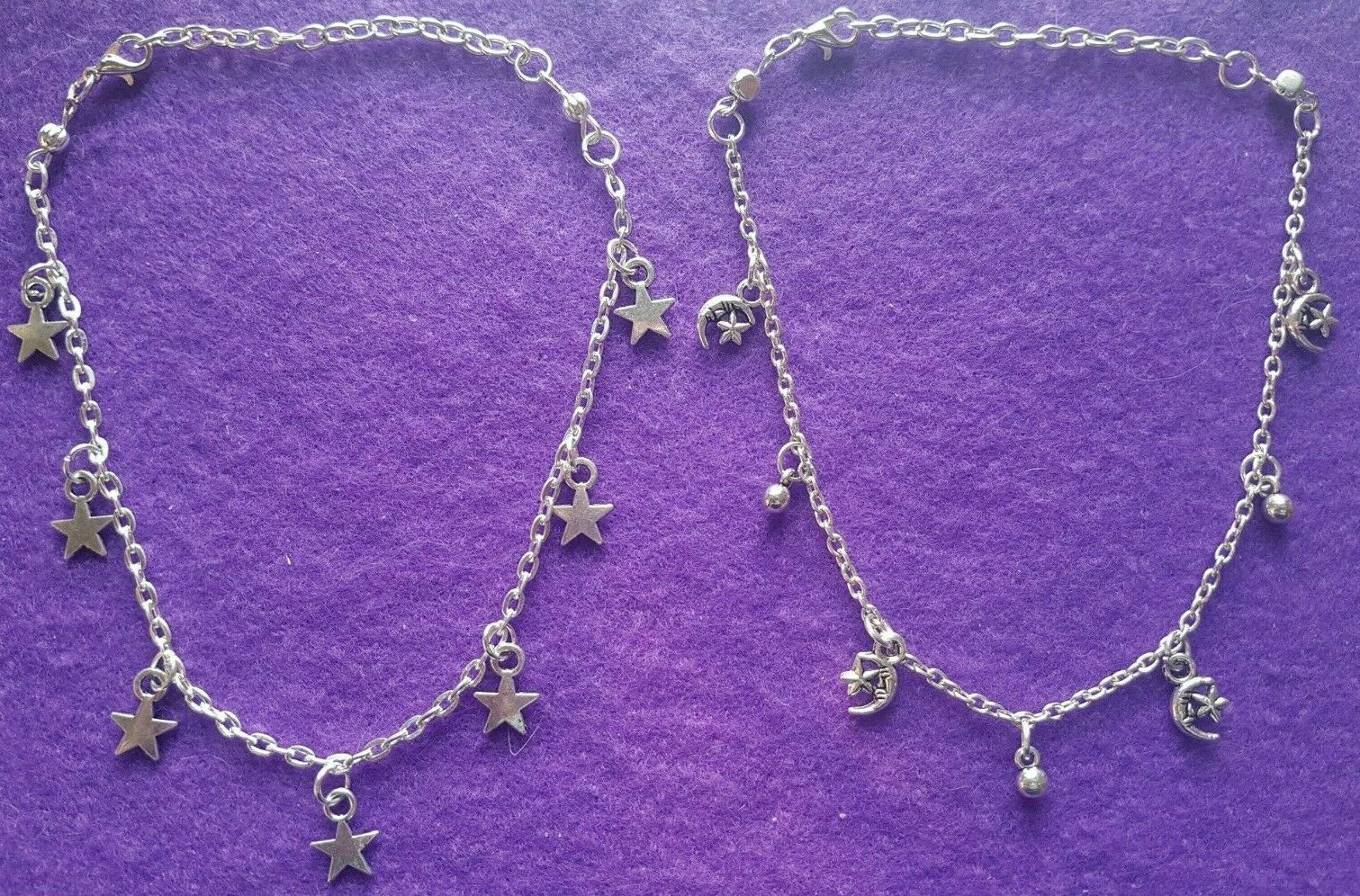 Silver Plated Anklet Chain - 2 Styles Stars or Moonstars + Gift Bagged