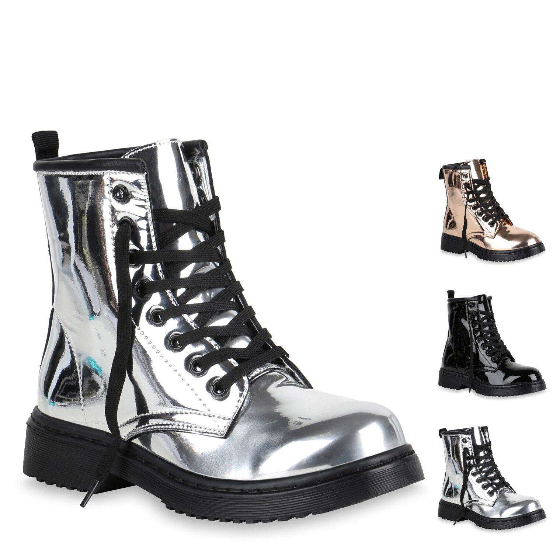 Damen Worker Boots Metallic Stiefeletten Lack Outdoor Schuhe 819738 New Look