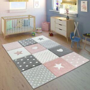 Pink Kids Rug Girls Nursery Carpet Cute Stars Design Soft