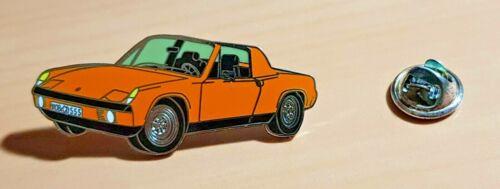 Porsche Épinglette 914 VW Porsche Orange Émaillé Dimensions 46x19mm