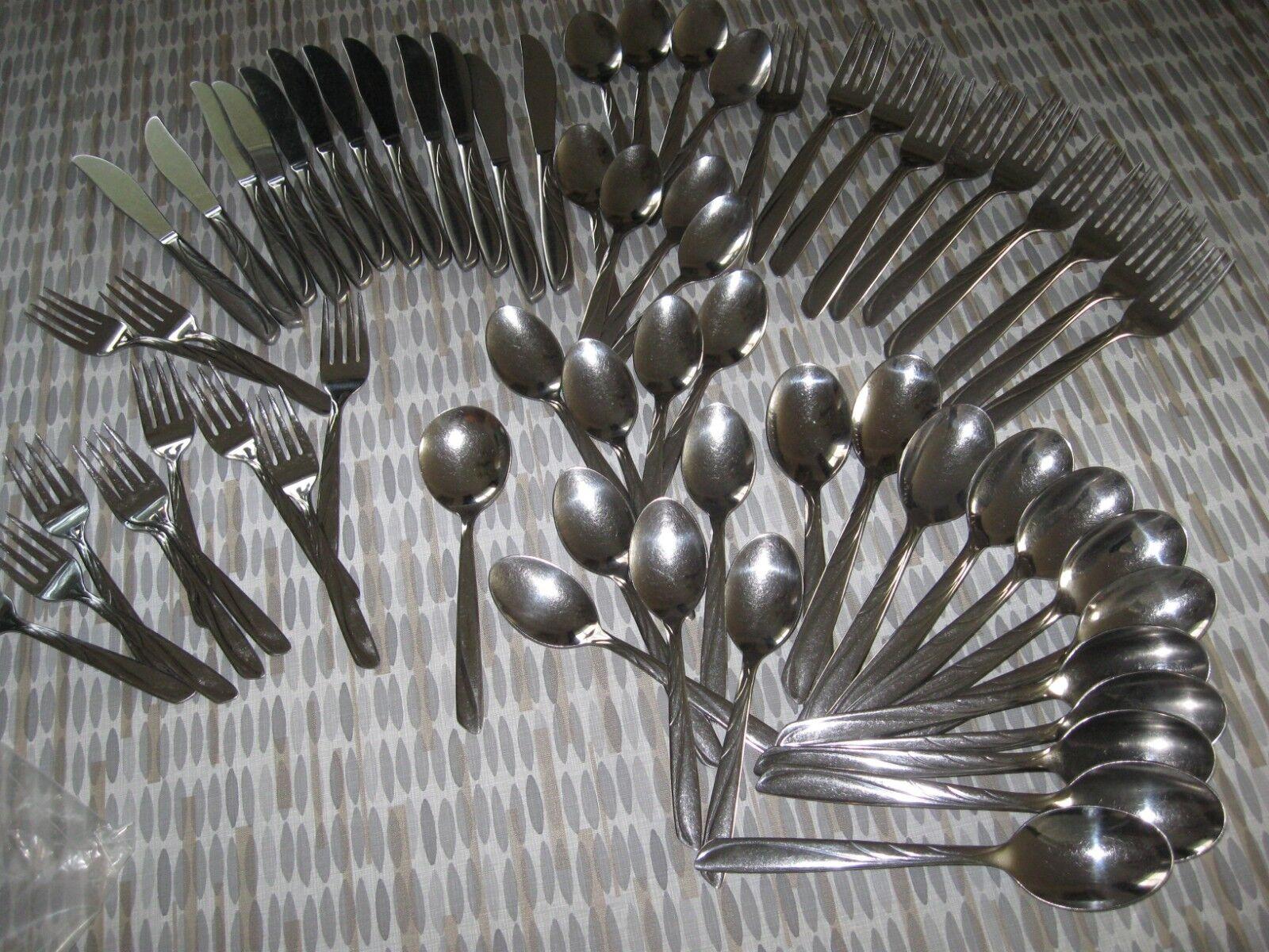 62 PC Silco Inoxydable INS125 Fourchettes Cuillères Couteaux service pour 10+, états-Unis MCM Swirl