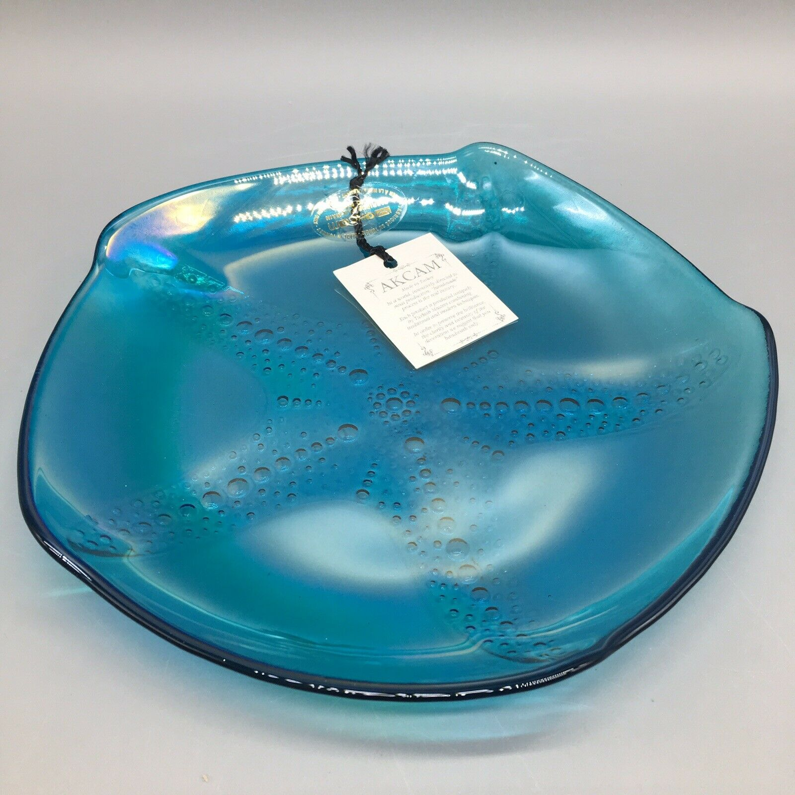 X4 AKCAM Turkish Blau Iridescent Glass STARFISH Salad Plate Set Ocean Beach Sea