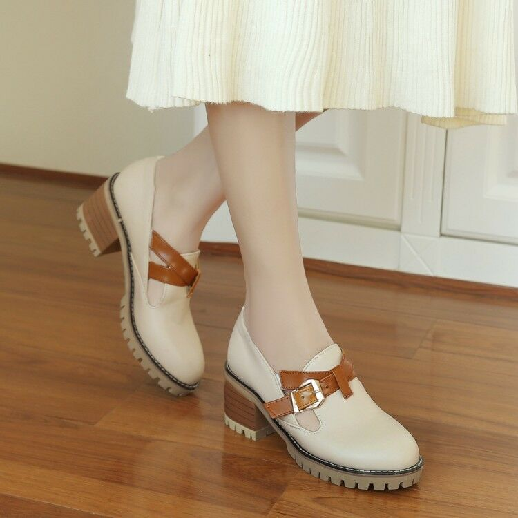 Women's Round Toe Leather shoes Buckle Casual Chunky Mid Heels Platform Slip on