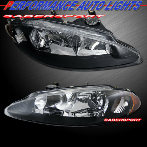 Set of Pair Black Housing Euro Clear Headlights for 1998-2004 Dodge Intrepid