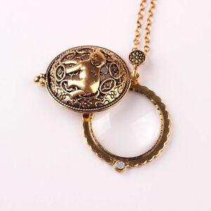 Vintage-Goldkette-Lupe-Elefant-Anhaenger-Halskette-Halskette-eNwrg-flYfE