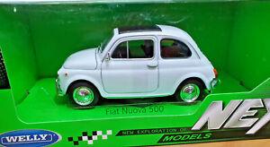 Fiat-Nuova-500-Bianca-Scala-1-24-Die-Cast-Welly-Nuova
