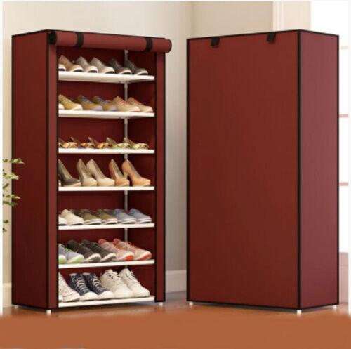 D85 Red Portable Dustproof Organiser Storage Shoe Rack Cabinet 59.5X119.5CM Z