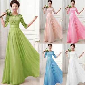 Women-Long-Chiffon-Formal-Lace-Party-Cocktail-Evening-Prom-Wedding-maxi-Dress