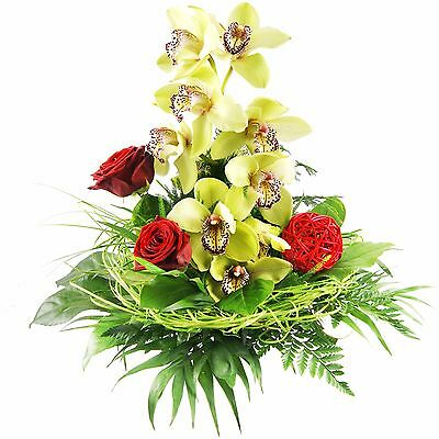 """***blumenversand*** Blumenstrauß """"orchidee"""" Orchideenstrauß In Grün-rot Mangelware Garten & Terrasse"""