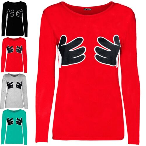 Women Ladies Stretchy Funny Hands Holding Boobs Round Neck Long Sleeve T Shirt