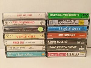 Lot of 14 Vintage Classic Cassette Tapes - Buddy Holly, Orbison, Rogers, Waylon