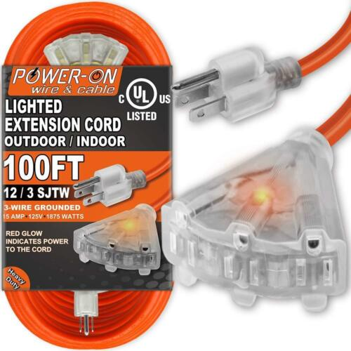 100 Feet 3 Outlet 12//3 SJTW Outdoor Extension Cord UL Listed; 15A 125V 1875W