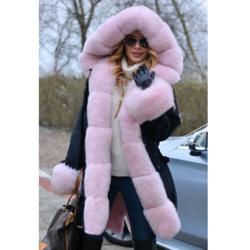 Women Real Vulpes Fox Fur Collar Rabbit Fur Liner Hooded Coat Jacket Parka