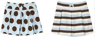 NWT Gymboree Sz 5 GIRLS BEST FRIEND Striped Blue Brown Skirt Skort