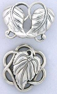 .925 Sterling Silver Danecraft Floral Pin Brooche & Earring Set VINTAGE ebs5295